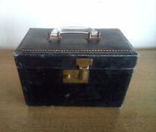 ANTIQUE TRAIN CASE Art Deco Compact  Black Personal Baggage Travel