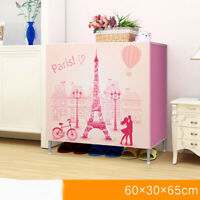 D115 Portable Dustproof Organiser Storage Pink Shoe Rack Cabinet 60X65CM Z