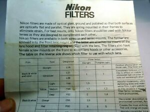 Nikon Filtres Brochure Photographie Guide En 1980's