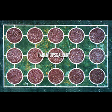 4'x2' Marble Green Dining Table Top Garden Decorated Mosaic Inlay Design H3940A