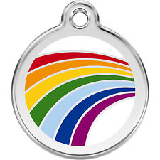 Red Dingo RAINBOW Engraved Personalised Dog / Cat ID identity Tags / discs (1RA)