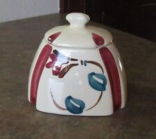 Beautiful Vintage Purinton Pottery Red Blossom Tea Canister Sugar Bowl MINT!