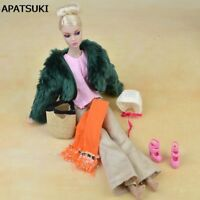Doll Accessories Set Fur Coat Fashion Clothes For Barbie Doll Pants Scarf Shoes