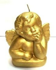 Angle Boy Shaped Candle Golden Sculpture Figurine Engraved Wax Blend High 4.5""