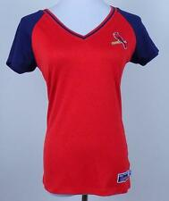 ST LOUIS CARDINALS Majestic~V-Neck~Womens Sz M~SS~Red & Blue~Polyester~Shirt~Top