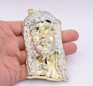 "4.25"" Huge Men's Diamond Cut Jesus Head Charm Pendant Real 10K Yellow White Gold"