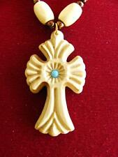 Armenian Wood Hand Made Carved Cross Necklace Emerald Pendant Souvenir Gift