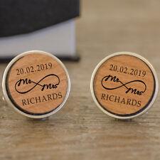 Personalised Wooden Engraved Mr & Mrs Cufflinks For Men Anniversary Wedding