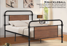 TWIN FULL QUEEN KNUCKLE BALL BED FRAME, PLATFORM BED FRAME, WOOD PANEL HEADBOARD