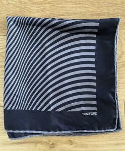 Tom Ford 100% Silk Pocket Square Black & Grey 40 X 40 Cms Rrp £130