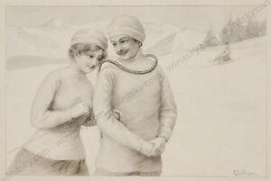 """""""Winter Pleasure"""" by Raimund Ritter von Wichera (1862-1925), drawing, ca.1900"""