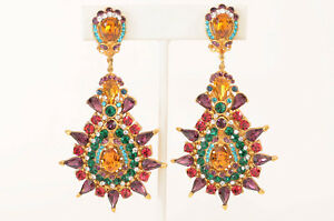 Jose & Maria Barrera red multi starburst crystal teardrop drop earrings NEW $465