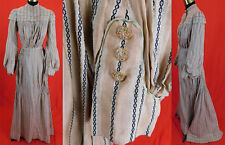 Edwardian Beige Black Stripe Woven Chambray Dress Bishop Sleeve Blouse Skirt Vtg
