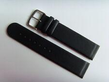 Watch Strap Leather Black 18 mm Attachment For Screwing Skagen Bering Boccia DD