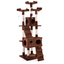 """New listing 67"""" Pet Cat Tree Play House Coffee Tower Condo Bed Scratch Post Toy Balls"""