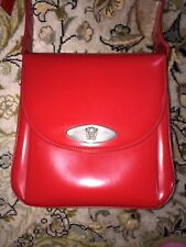 Gianni Versace Vintage Red Leather Handbag Shoulder Bag Medusa Logo