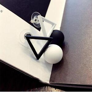 Fashion Sexy Women Asymmetric Pendant  Earrings Earbob White / Black