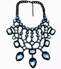 Large Boho Tribal Drop Statement Bib Black Blue Necklace Crystal Chain Birthday