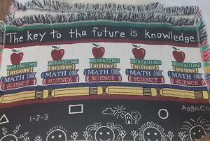 "Teacher Appreciation Fringed Throw Blanket Key to Future is Knowledge 60""x46"""