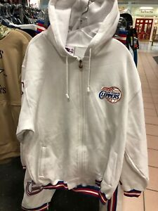 Los Angeles Clippers  Mens VINTAGE JACKET COTTON   SET  WITH HOODY  NBA WHITE