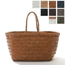 NEW  WOVEN LEATHER TOTE BAG DRAGON SMALL TRIPLE JUMP HANDMADE  FREE SHIPPING