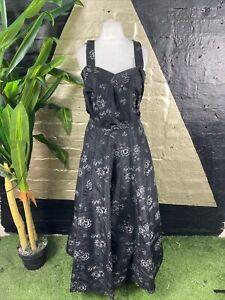 Original Vintage 1970s Black Taffeta Floral Maxi Dress