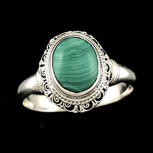 ORNATELY SET Solid 925 Sterling Silver Natural Green Malachite Handcrafted Ring