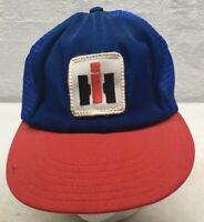 Vintage IH Patch SnapBack Trucker Mesh Hat  USA Red White Blue Cap STEVENS BRAND