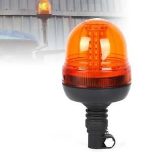 LED Rotating Flashing Amber Beacon Flexible DIN Pole Tractor Warning Light 12-24