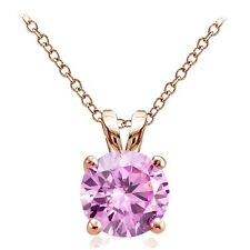 Rose Gold Tone over Silver 4ct Pink Cubic Zirconia 10mm Round Solitaire Necklace