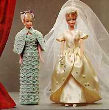 Vintage Crochet Knit Sewing PATTERN for Barbie 173 Wedding dress Gloves Viel Hat