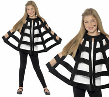 Black Spider Web Cape Childrens Halloween Fancy Dress Accessory Age 12