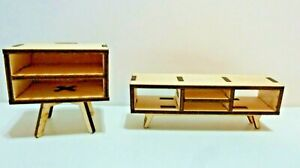 1:12 Scale Doll House Furniture Coffee and End Table  Set-Mid Century Modern