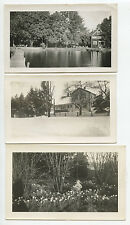 SET OF 3 SNAPSHOT PHOTOS SUMMER LAKEHOUSE, WINTER SCENE + GIRL W/ FLOWERS