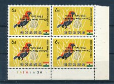 More details for ghana 1965 definitives sg385a 6p on 6d surcharge inverted plate block of 4 mnh