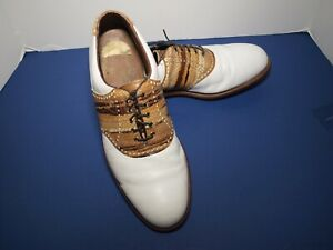 Footjoy Classics Premiere Shoes - White and Brown Leather- Size 12 M - USA Made