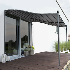 10' x 10' Steel Outdoor Pergola Patio Canopy Gazebo Grey