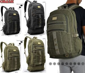 Sac à Dos Grand 60L Toile Tissu Multiples Poches Camping Voyages Sport Militaire