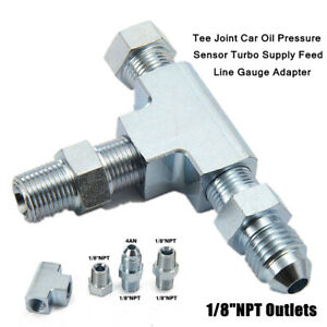 "1/8""NPT Tee Joint Steel Oil Pressure Sensor Turbo Supply Feed Line Gauge Adapter"