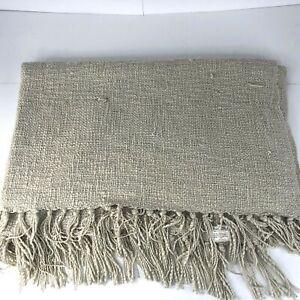 Pottery Barn Throw Blanket Fringe Acrylic Cottage 50x60 Beige