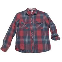 Alya Faded Muted Plaid Shirt Womens M Medium Red Long Tab Sleeve Button Front