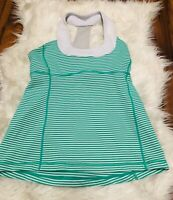 Lululemon Tank Top shirt built in bra striped white green  Womens Size 8 ~ X6