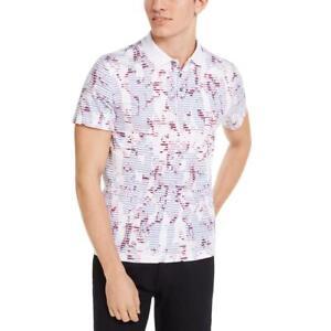 Alfani Mens Pink Floral Striped Henley Polo Shirt XXL BHFO 9705