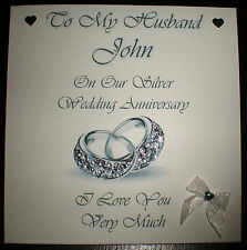 SILVER WEDDING ANNIVERSARY PERSONALISED CARD HUSBAND or  WIFE