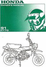 1991 Honda Ct70 Minibike Moto Propriétaires Manuel Honda Trail 70--ct 70