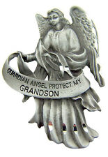 Religious Gift Antique Pewter Guardian Angel Protect My Grandson Auto Visor Clip
