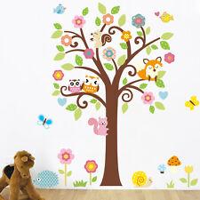 Wandtattoo Wandsticker Kinderzimmer Tiere Wald Baum Wandaufckleber Süß Bunt #9