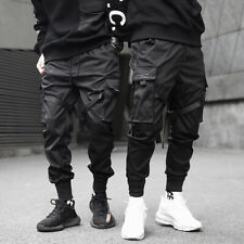 Men Ribbons Joggers Harajuku Sweatpant Trousers Hip Hop Pocket Cargo Pants