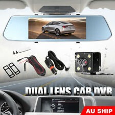 "7"" Inch Full Rear View Mirror Dash Car Reverse Camera Kits Double Cam HD 1080p"