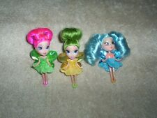 Lot of 3 Barbie Fairytopia Mermaidia Pixie Dolls Mini B Peek-A-Boo Petites